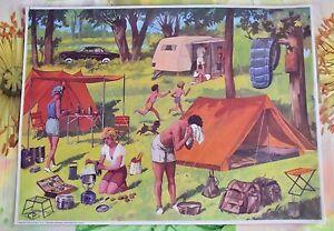 Decoration-Murale-Set-de-Table-42-x-30-cm-le-Camping-en-1960-a-la-campagne