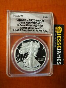 2011-W-PROOF-SILVER-EAGLE-ANACS-PR70-DCAM-FIRST-STRIKE-FROM-25TH-ANNIVERSARY-SET