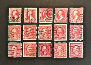 US-Rare-George-Washington-Red-2-Lot-of-15-Different-Stamps-Used-Free-Ship