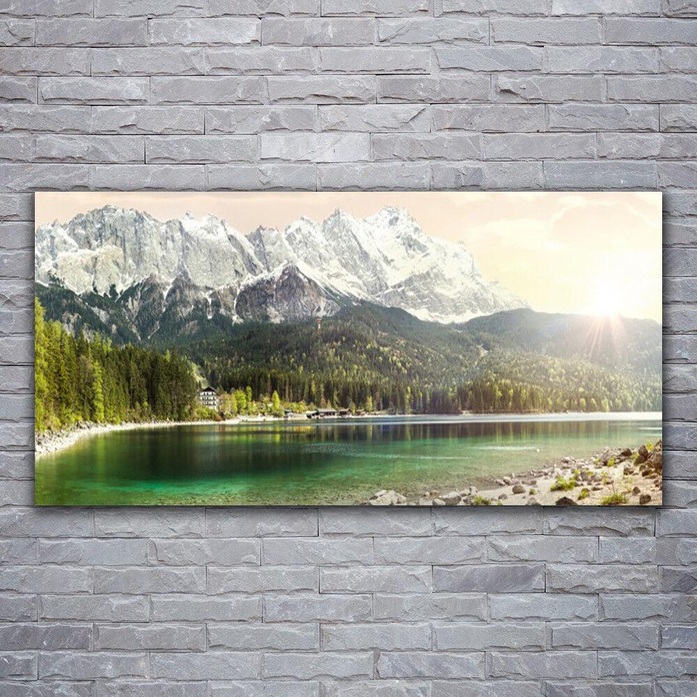 Photo sur toile Tableau Image Impression 120x60 Paysage Forêt Montagnes Lac