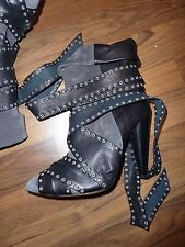 ISABEL MARANT Grey Suede and Black Leather Allen Boots FR 39 EUR 38