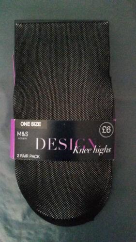 BNIP 4 Pairs of M/&S Hosiery Design Black Knee Highs One Size UK 4-8