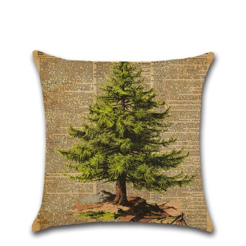 VINTAGE Christmas Print Cotton Linen Cushion Cover Pillow Case Home Decor