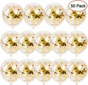 Konfetti-Luftballons-Gold-Helium-50-Stueck-30-cm-Glitzer-Pailletten-Latex