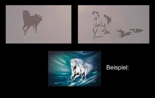 244 laufendes Pferd Tiere Stencil Airbrush Schablone Step by Step