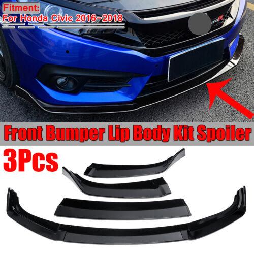 For 2016-2018 Honda Civic Sedan 3PCS Front Bumper Lip Body Kit Spoiler Wing
