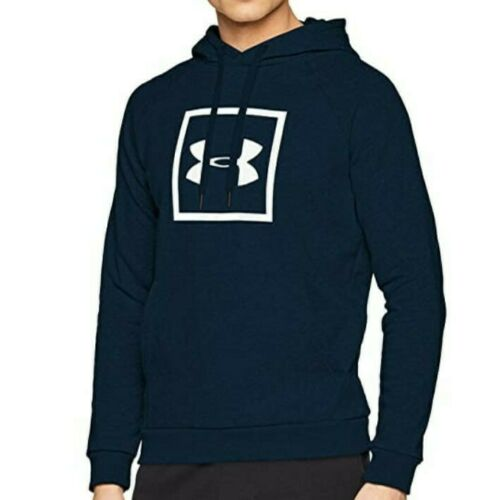 NWT Mens Under Armour Rival Logo Fleece Pullover Sweater Navy Large Hoodie UA