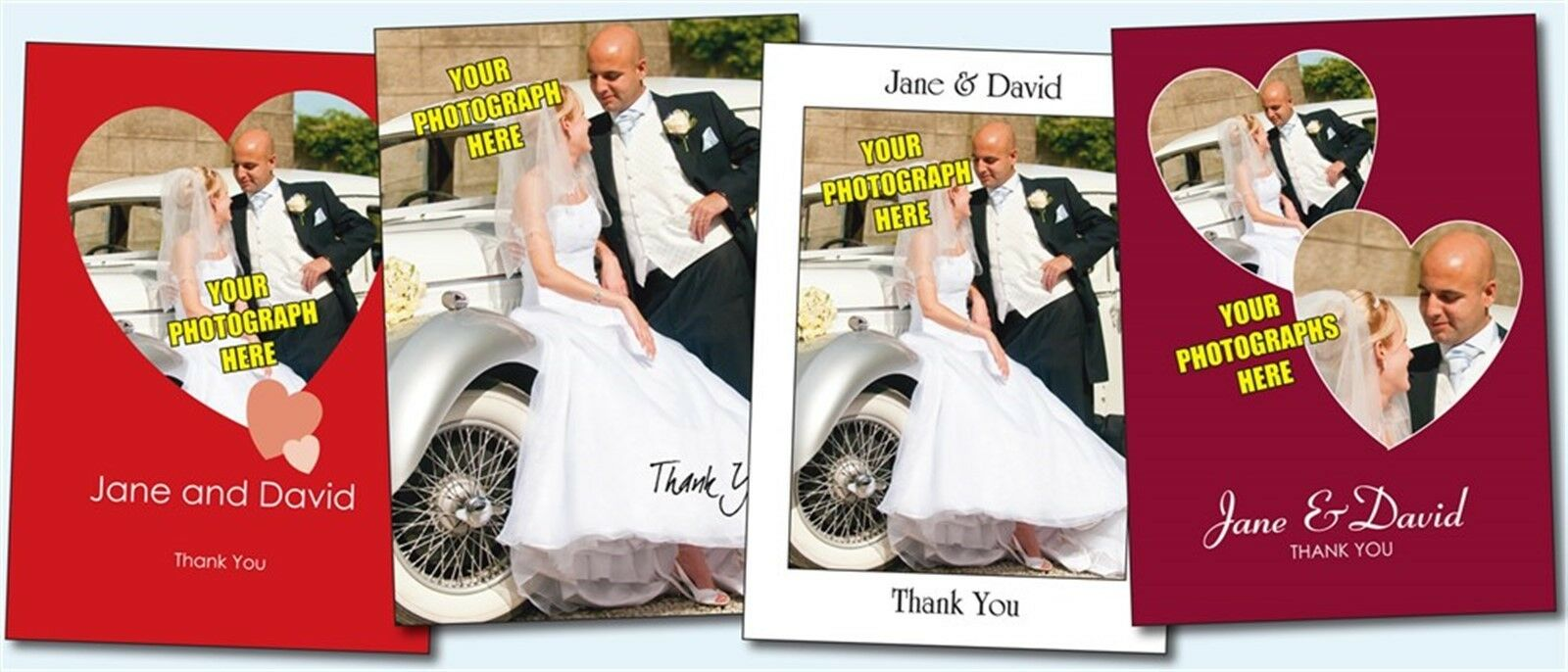 Personalised Wedding Photo Thank You Cards. 6 designs to choose from