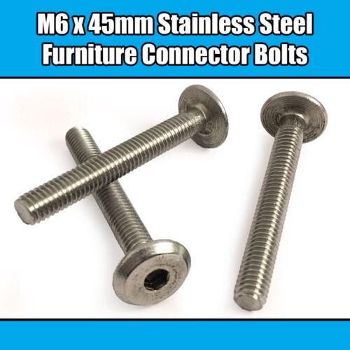 M6 x 45 mm en acier inoxydable meubles Connecteur Boulons Fix lit bébé meuble table bureau