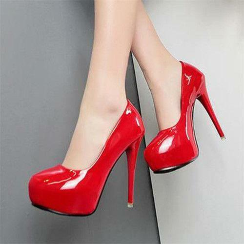 Sexy Womens Patent Leather Stiletto Pumps Round Toe Platform Slip On Party shoes