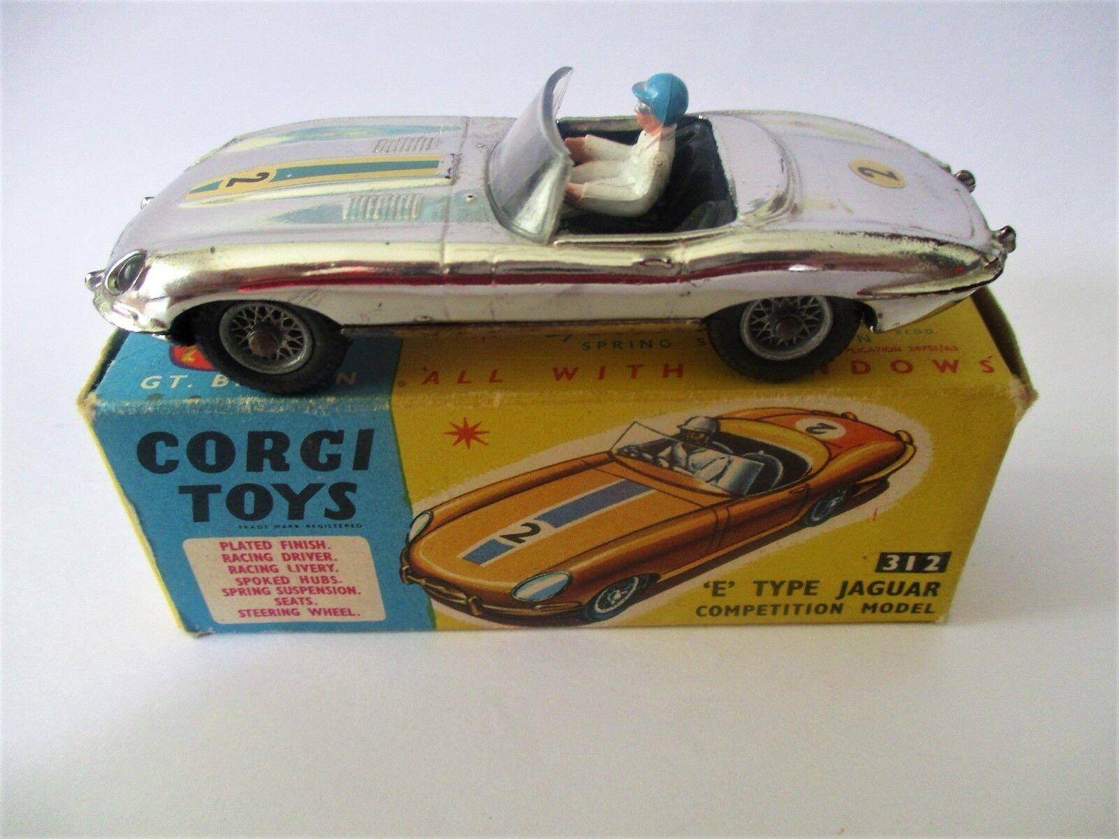 Corgi 312 E Type Jaguar Competition Model Boxed Excellent Condition