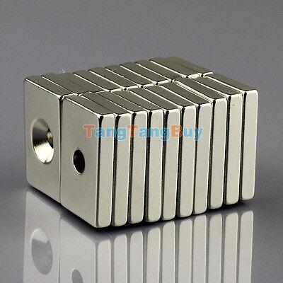 10pcs Super Strong Block Magnets 30 x 20 x 5mm Hole 5mm Rare Earth Neodymium N50