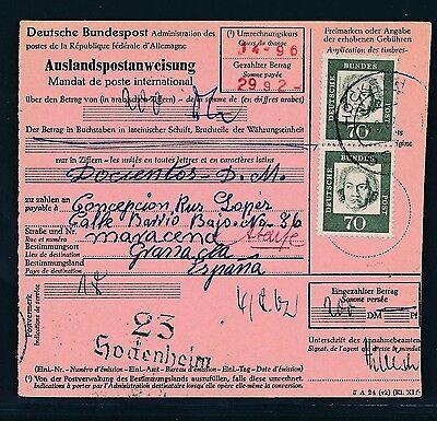 89507) Ausl.-postanweisung Bed.deutsche Mef 70pf Hockenheim - Spanien