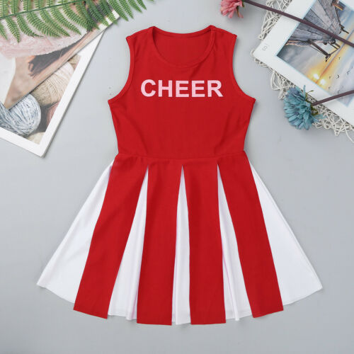 Girls Cheerleader Costume High School Kid Cheer Leader Fancy Dress Aged 6-12Yrs
