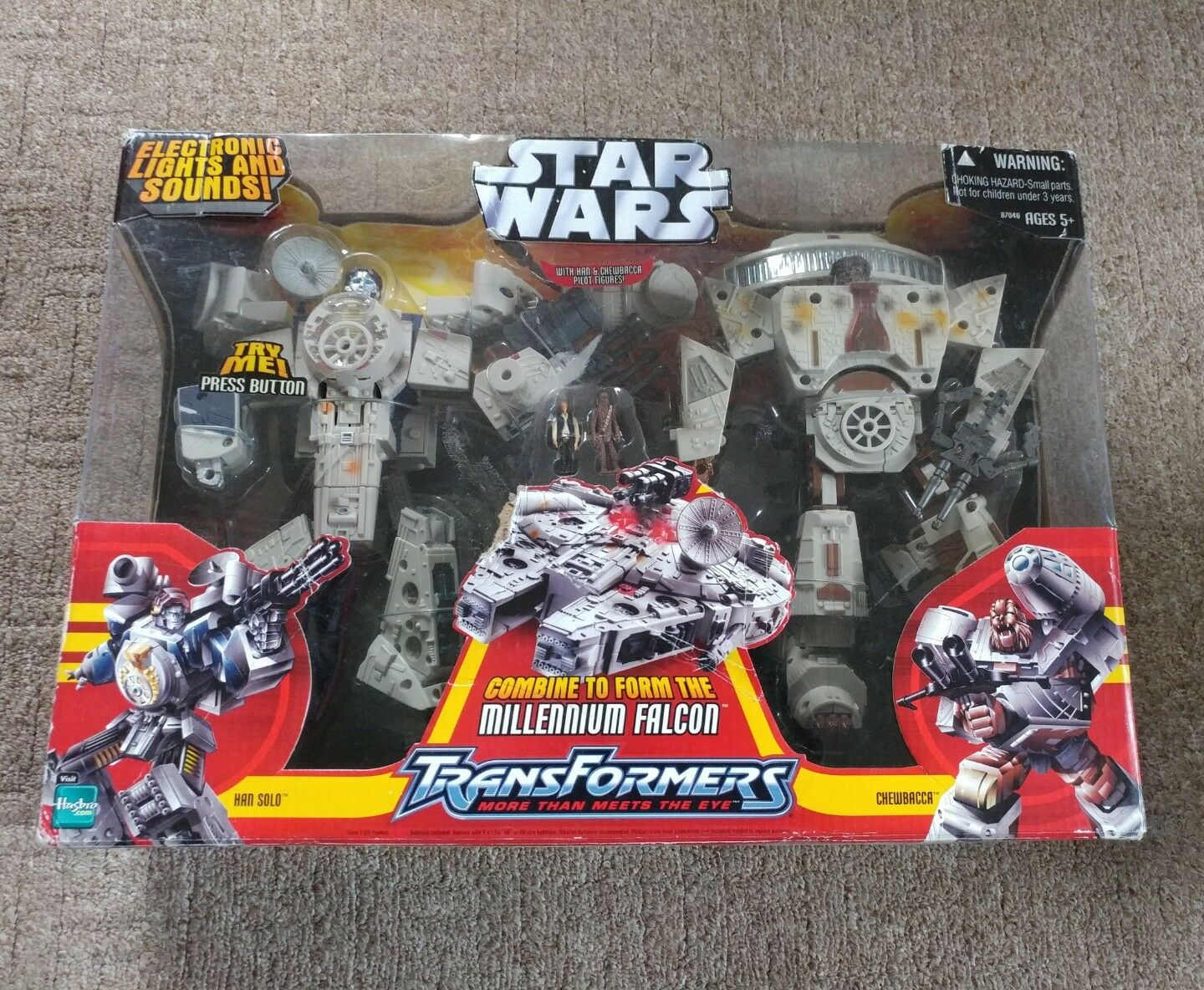 NEW Star Wars Transformers Millennium Falcon Figures Han Solo Chewbacca Unopened