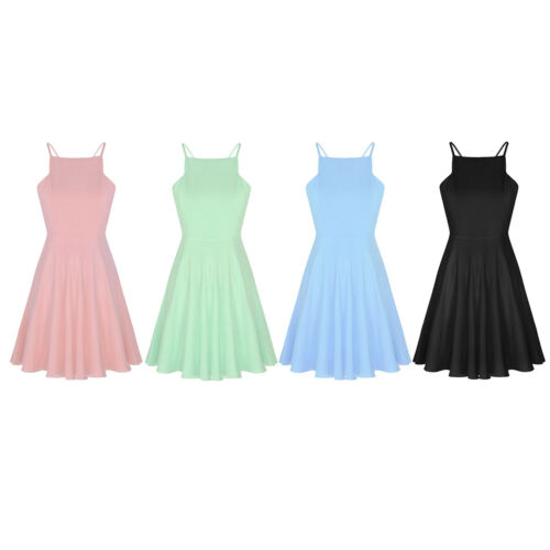 Women Formal Cocktail Party Halter Sleeveless Bridesmaid A Line Skater Dresses