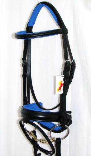 FSS COBALT ROYAL Benetton BLUE Comfort Padded Headpiece Crank Dressage BRIDLE