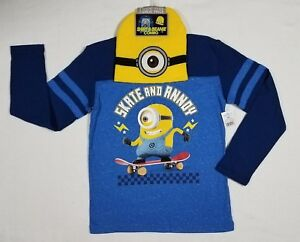 BOYS DESPICABLE ME MINION LONG SLEEVE SHIRT /& BEANIE SKATE AND ANNOY SIZE M 8