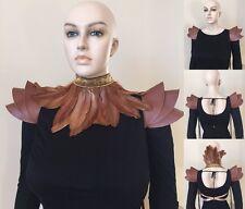 Brown faux leather epaulette pauldron Shoulder armor shoulder pads powldron
