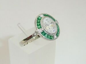 Damen-Art-Deco-Halo-Design-925-Sterling-Silber-Saphir-amp-gruenen-Smaragd-Ring