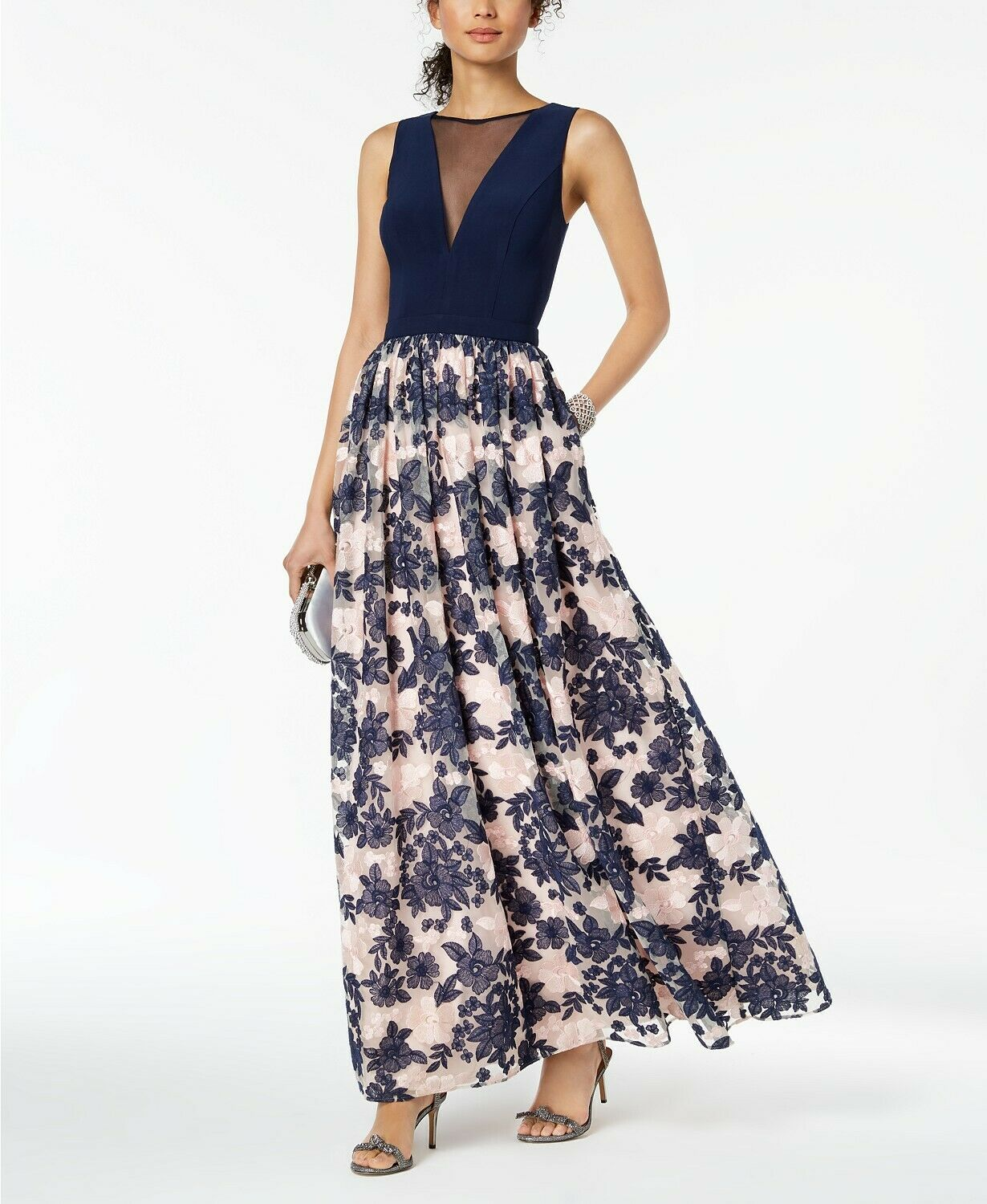 229 NIGHTWAY WOMEN'S NAVY blueE PINK FLORAL EMBROIDERED ILLUSION DRESS SIZE 8