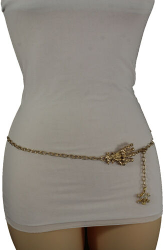 Women Gold Metal Chain Fashion Belt Skull Skeleton Finger Hand Charm Plus M L XL