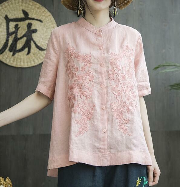 Womens Vintage Floral Embroidery Cotton Linen Shirt Loose T-Shirts Blouses Tops