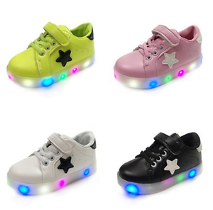 Details About Led Light Up Kids Boys Girls Dance Sneakers Baby Causal Skate Sport Shoes