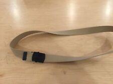 "webbing  belt, us made, 100% cotton khaki /tan belt black buckle  44"" and down."