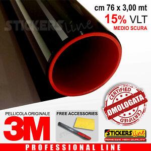 Pellicola-Oscurante-Vetri-Auto-Black-Shade-3M-BS15-MEDIO-SCURA-omologata-76X300