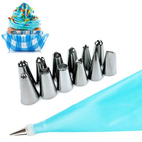 14 Pcs Icing Piping Cream Pastry Bag Nozzle Cake DIY Decorating Tools Silicone