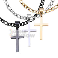"""24/""""MEN Stainless Steel 6mm Silver Figaro Link Chain Necklace Cross Pendant*P29"""