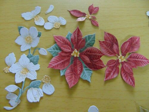 Tattered Lace dado corta noche antes de Navidad Poinsettia eléboro 3D Decoupage