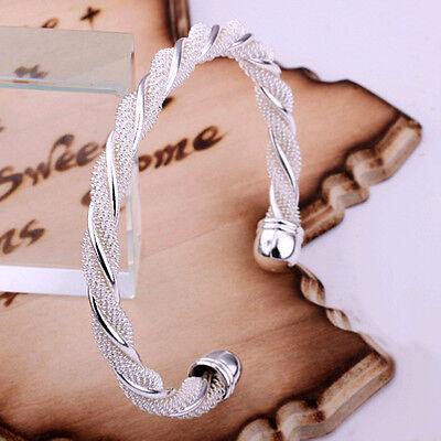 Lowest price wholesale solid silver fashion mesh cuff bracelet +box DB15