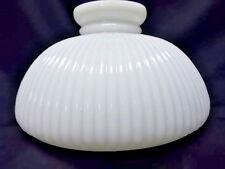 "Antique 10"" Rim Ribbed Opal White Glass Student Lamp Shade B&H Aladdin RAYO"