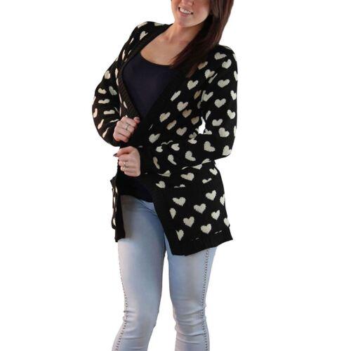 Donna Lavorato A Maglia A Maniche Lunghe Multi Cuore Cardigan Da Donna Aperto Sul Davanti Maglione Invernale