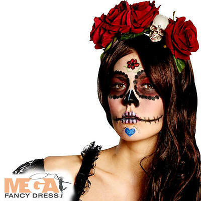 Day Of The Dead Headband Ladies Fancy Dress Halloween Rose Costume Accessory New