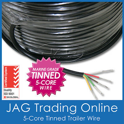 5-CORE MARINE GRADE TINNED WIRE - TRAILER/BOAT/AUTOMOTIVE/RV/ELECTRICAL CABLE