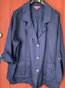 4d2e4796bb2 NWOT Woman Within Navy Blue Casual Career Temcel Jacket Plus Size 3X ...