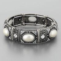 Antique Silver Vintage Pearl Stretchable Bangle Bracelet