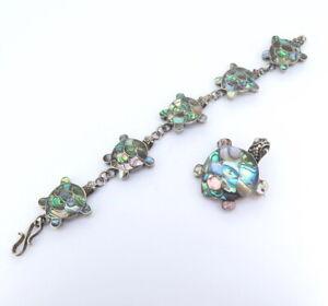 Cute-Abalone-P-ua-Shell-Sterling-Silver-Sea-Turtle-Bracelet-Pendant-Brooch-26g