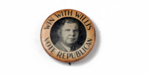 """WIN WITH WILLIS"" POLITICAL PIN K1843"
