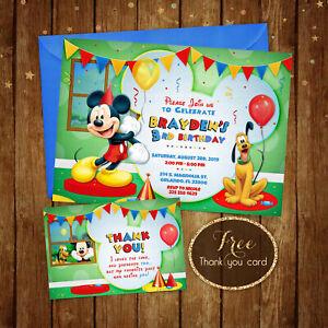 Mickey Birthday Invitation, Mickey Birthday Party - Fox - Digital File - 5x7