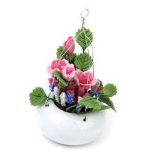 1 12 Dollhouse Home Decoration Miniature Clay Rose Flower With Ceramic Hangin B3