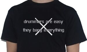 Drummers-Are-Easy-The-Bang-Everything-drumsticks-graphic-T-Shirt-Drums-Mens