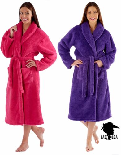 LADIES LUXURY SOFT FEEL CORAL FLEECE  DRESSING GOWN ROBE WRAP PINK OR PURPLE