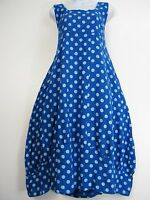 100% LINEN SPOTTY LAGENLOOK DRESS WITH FRONT POCKETS 16 COLOURS ONE-SIZE 12-16