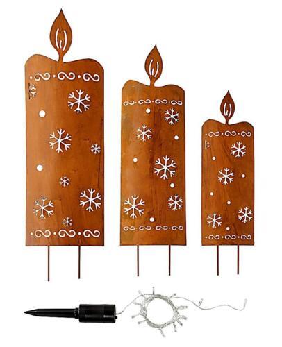 XXL Gartenstecker Kerzen Rost mit LED Lichterkette Weihnachtsdeko Gartendeko