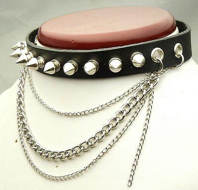 TEN113 Metal Spikes Chains Collar Choker Necklace Punk EMO Biker Gothic