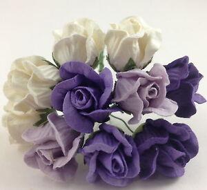 20 purple white paper flowers puffy rose buds wedding basket craft image is loading 20 purple white paper flowers puffy rose buds mightylinksfo